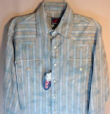 Roper Mens M Western Shirt Pearl Snap Button Front Long Sleeve Blue White