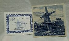 """Delft Blue 6"""" Tile with Certificate of Authenticity"""