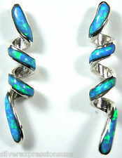 Cute Blue Fire Opal Inlay Genuine 925 Sterling Silver Curly Spiral Earrings