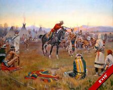 CANADIAN MOUNTY ARRESTING BLACKFOOT INDIAN OIL PAINTING ART REAL CANVAS PRINT