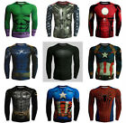 Mens compression Marvel superhero Cycling sports Running Jersey shirt tight tops