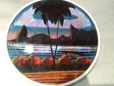 "CIRCULAR BUTTERFLY WING PICTURE OF RIO, GREAT RETRO KITSCH ITEM 8"" DIA"