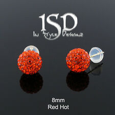 14k Gold Womens 8mm Swarovski Elements Red Hot Crystal Disco Ball Studs Earrings