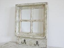 Rustic Style Off-White Shabby/Distressed/Weathered Window Mirror With Hooks