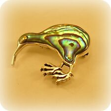 Silver Abalone Shell Kiwi Bird Pin Brooch
