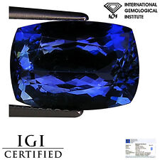5.28 Ct IGI Certified AA+ Natural D Block Tanzanite Blue Violet Cushion Cut