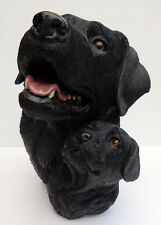 LIVING STONE BLACK LABRADOR AND PUP BUST, LARGE SIZE  ITEM #73105