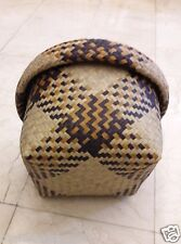 Hand Woven Hamper Basket Bulrush Natural Thailand Wicker Sedge Home Garden