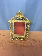 Vintage Dresser/ Desk Mirror Gold Tone Finish Large Ornate Cast Iron or Brass?