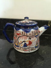 Japanese Hand Painted Kutani Blue Tea Pot
