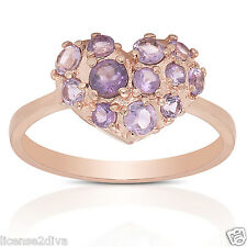 ROSE GOLD OVER STERLING SILVER GENUINE AMETHYST HEART RING! NEW! SIZE 9!