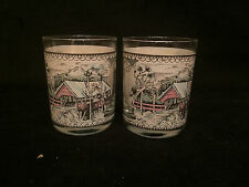 "2 Vintage Johnson Bros. ""Friendly Village"" 14 Oz Double Old Fashioned Glasses"
