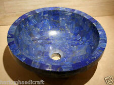 """15"""" Exclusive Marble Round Washbasin Lapis Natural Stone Sink Patio Decor H2061"""