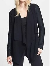 NWT VINCE 100% COTTON Draped Front Sweater Cardigan, Black, XS, $445