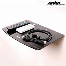 Black Single Glass Shelf Wall Mount Bracket Under TV Component Cable Box DVR DVD