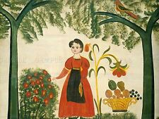 AMERICAN 19TH CENTURY GIRL RED FLOWERS DISTELFINK ART PAINTING POSTER BB4836A