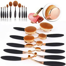 10PC Toothbrush Elite Oval Make up Brushes Set Golden Powder Foundation Contour