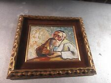 """Vintage Palette Knife Oil on Board Painting Man W/ Pipe 8""""x10"""" - 13""""x15"""" Framed"""