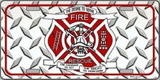 Fire Fighter Rescue Diamond Metal Novelty License Plate Tag