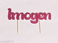 GLITTER name cut out tooth pick cake topper for Birthday cakes