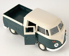BLITZ VERSAND VW T1 Double Cabin Pick Up grün / green Welly Modell Auto 1:34 NEU