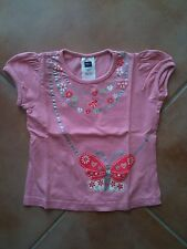 Girls Pink Butterfly Design T Shirt (age 2-3)