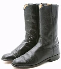 Justin Womens Cowboy Boots Size 5 C wide Black Leather Roper Classic USA Western