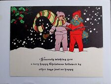 Vintage Unused Deco Xmas Greeting Card Two Young Ladies Singing Carols in Snow