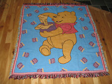VINTAGE WINNIE THE POOH JACQUARD KNIT THROW BLANKET FRINGE BEACON ACRYLIC