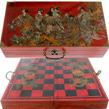 Chinese Dynasty Chess Set. Large 18'x19' Foldable Chess Board. Red Display Case
