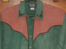 Western Cowgirl Blouse Shirt VINTAGE Top 14-16 Womens L Grn USA Roughrider WS244