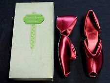 Gorgeous Vtg Unworn Daniel Green Wine Satin Comfy Peep Toe Boudoir Slippers 7AA