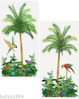 PALM TREE PARROTS AND FLOWERS SCENE SETTER ADD ONS PARTY WALL POSTER DECORATIONS