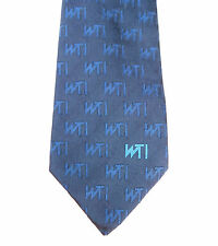 WTI silk corporate tie Navy blue with initials W T I Company organisation logo