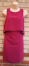 NEW LOOK MAGENTA RUFFLE TUBE PENCIL FORMAL WORK ELEGANT RARE TEA  DRESS 12 M