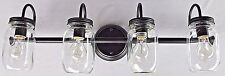 4 light clear glass mason jar lighting Dark Bronze vanity bathroom wall