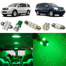 15x Green LED lights interior package kit for 2005-2014 Nissan Armada NA4G