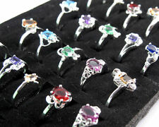 Women lady jewelry Wholesale Mixed color 10pc lot Silver CZ Rings SZ6-9 pretty