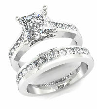 3.25CT PRINCESS CUT CHANNEL SET ENGAGEMENT RING & WEDDING BAND IN 14K WHITE GOLD