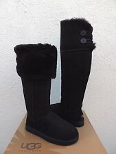 UGG BLACK OVER THE KNEE BAILEY BUTTON SHEEPSKIN BOOTS, US 9/ EUR 40 ~ NIB