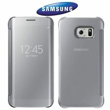 GENUINE SAMSUNG GALAXY S6 EDGE SILVER CLEAR VIEW WINDOW FLIP PREMIUM CASE COVER