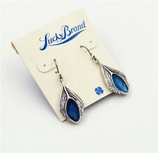 New Alloy Retro Lucky Brand Silver tone  bule stone  feather Earring
