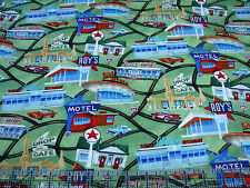 3 Yards Quilt Cotton Fabric - Timeless Treasures Route 66 Maps Diner Travel