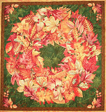 Fall Colors Autumn Leaves Wreath fabric panel square quilting quilt block cotton