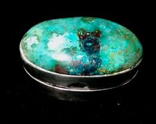 Circa 1950 Taxco Sterling Silver Pill Box with a Green Moss Agate Cabochon Lid