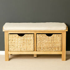 London Oak Storage Bench for Porch / Wooden Oak Hall Storage Bench with Baskets