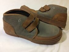 Olukai KAHA Gray/Tan MEN's Leather Boots Size 12