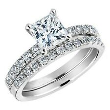 Size 5-11 Wedding Ring Set Princess Bridal Halo Engagement Propose Birthday Girl