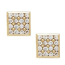 14K Solid Yellow Gold 9MM Square Cut Prong Set Cubic Zircon Studs ER-PE11