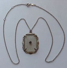 VINTAGE ART DECO CAMPHOR GLSS AND RHINESTONE PENDANT NECKLACE